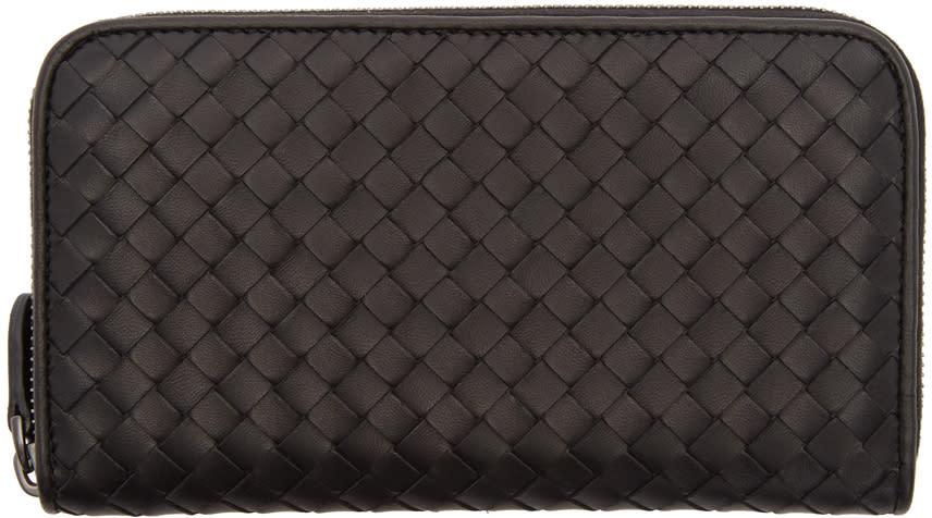 Image of Bottega Veneta Black Intrecciato Continental Wallet