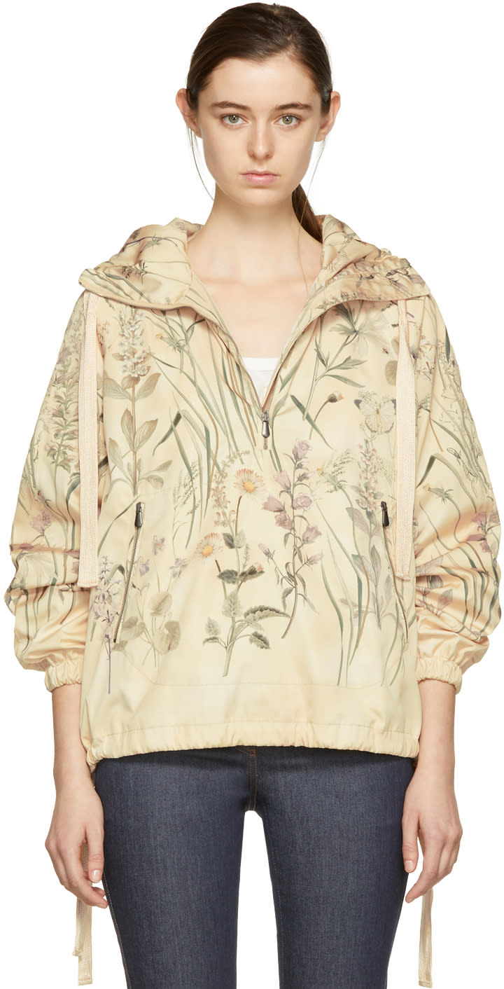 Bottega Veneta Beige All Over Butterflies Windbreaker Jacket