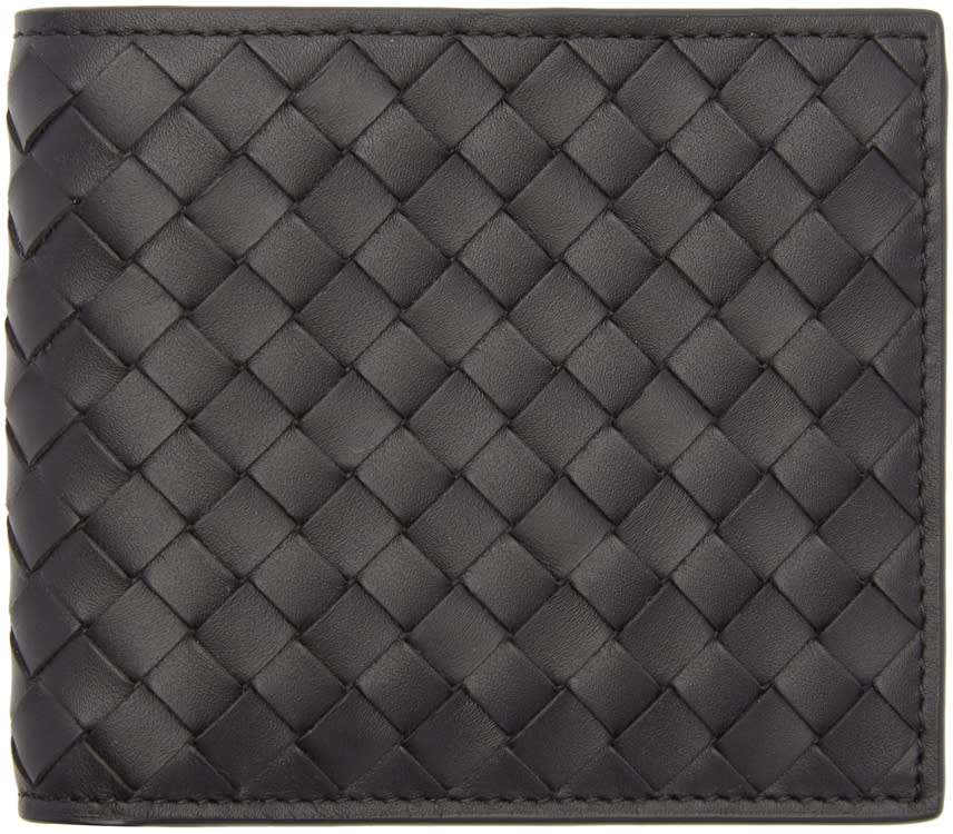 Image of Bottega Veneta Black Intrecciato Bifold Wallet