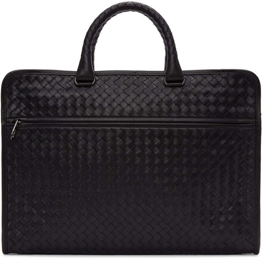 Image of Bottega Veneta Black Classic Intrecciato Briefcase