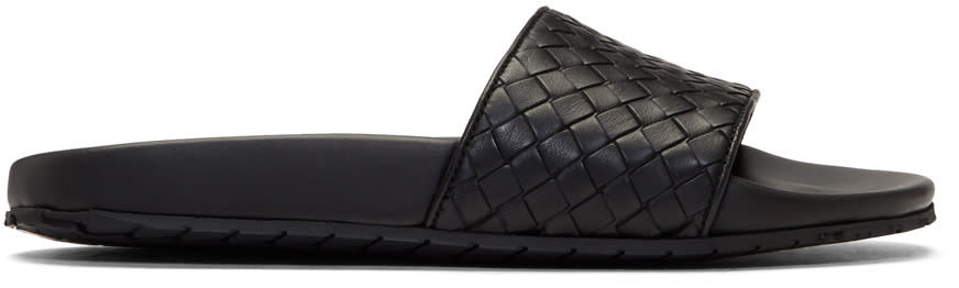 Bottega Veneta Black Intrecciato Lake Slides