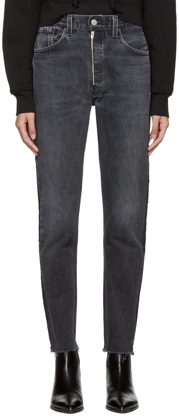 Image of Re-done Black Levis Edition High-rise Ankle Zip Front Jeans