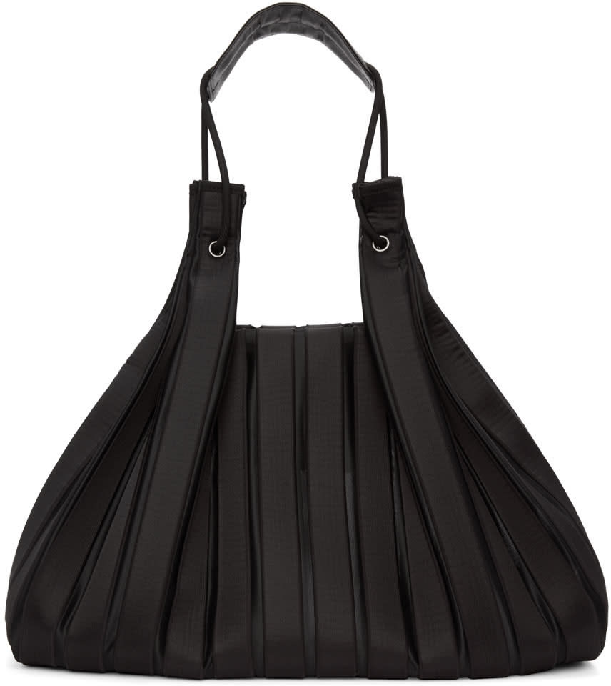Image of Issey Miyake Black Linear Knit Tote