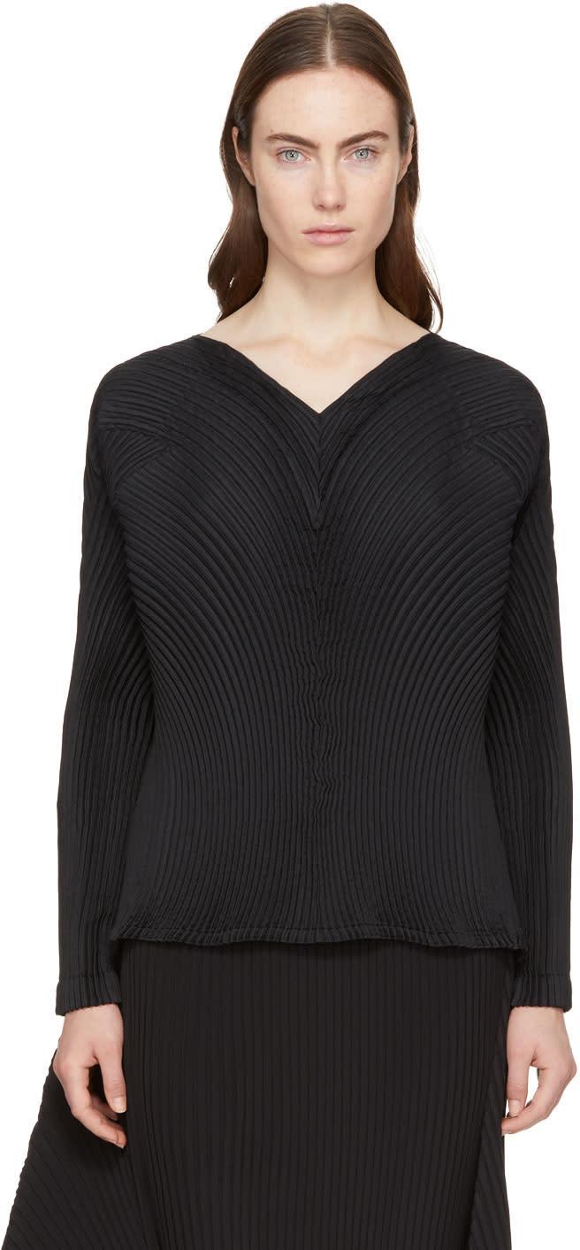 Image of Issey Miyake Black Lava Pleated V-neck Blouse