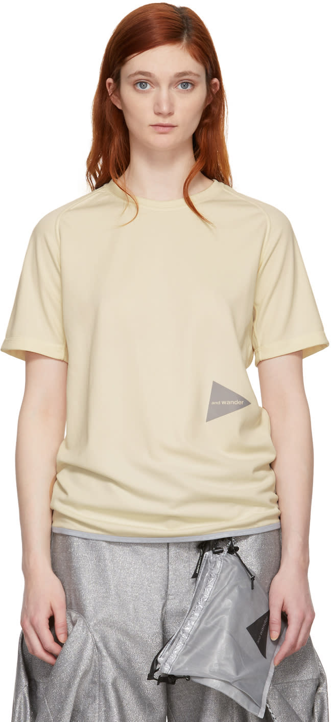 And Wander T-shirt Blanc Cassé Dry Jersey