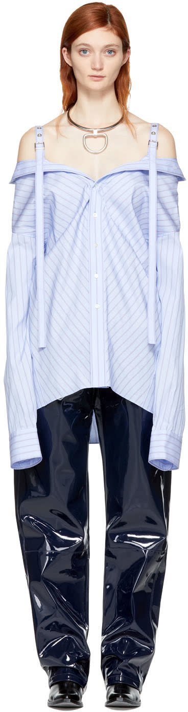 Image of Ambush Blue Striped Off-the-shoulder Shirt