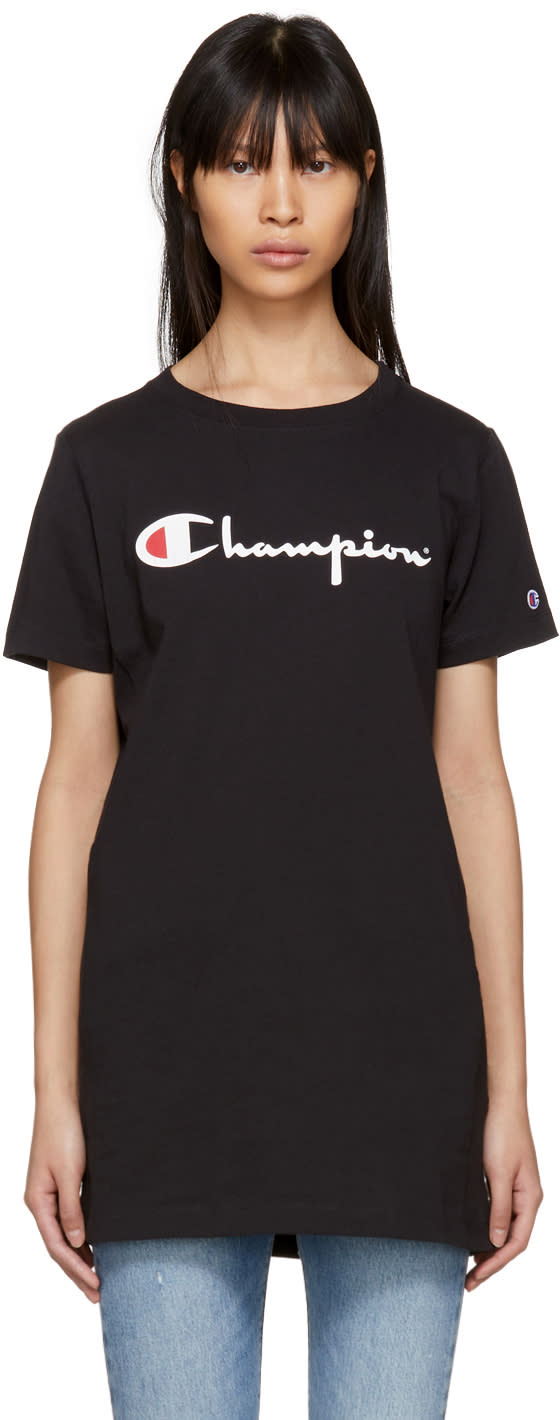 Image of Champion Reverse Weave Black Big Logo T-shirt