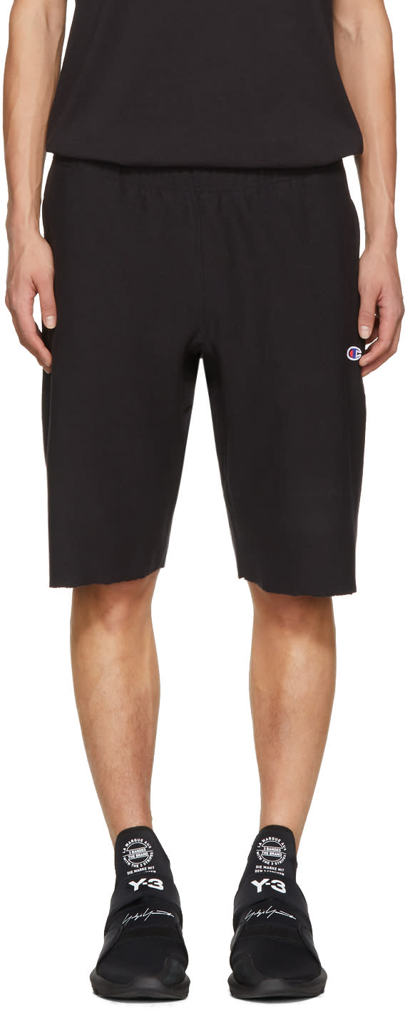 Image of Champion Reverse Weave Black Logo Shorts