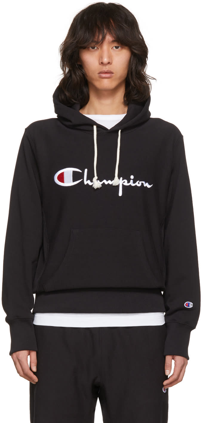 Image of Champion Reverse Weave Black Logo Hoodie