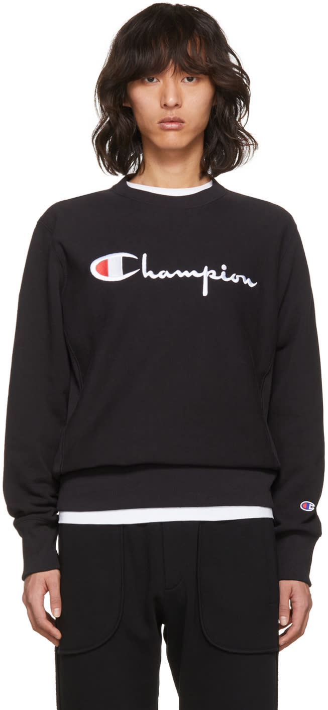 Image of Champion Reverse Weave Black Logo Sweatshirt