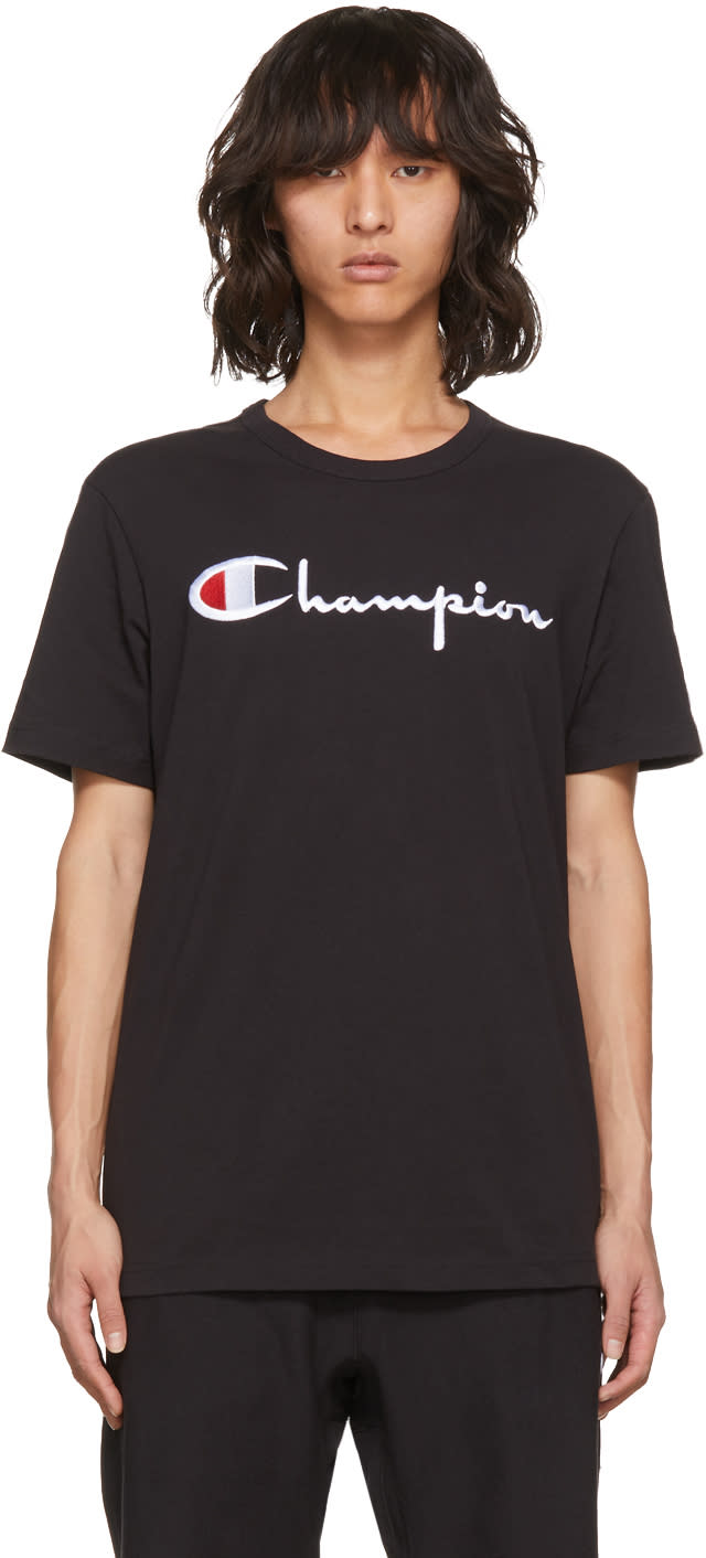 Image of Champion Reverse Weave Black Embroidered Logo T-shirt