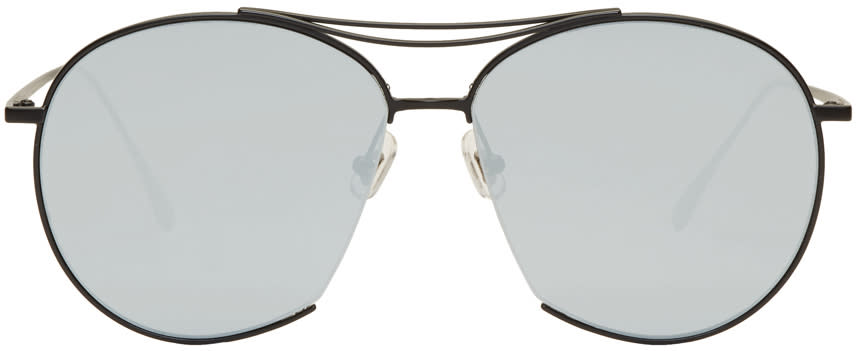 Image of Gentle Monster Black and Silver Jumping Jack Aviator Sunglasses