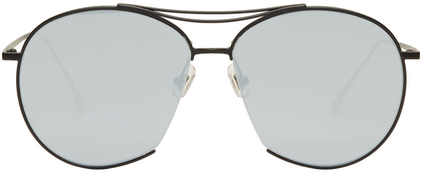 Image of Gentle Monster Black and Blue Jumping Jack Aviator Sunglasses