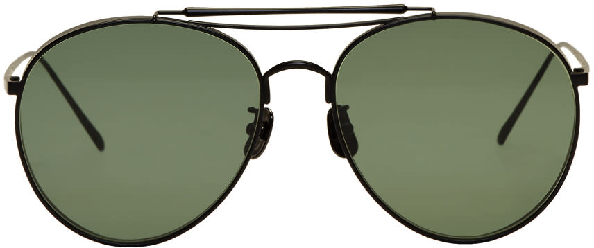 Image of Gentle Monster Black and Green Big Bully Sunglasses