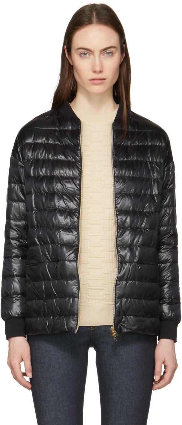 Herno Black Down Cocoon Bomber Jacket