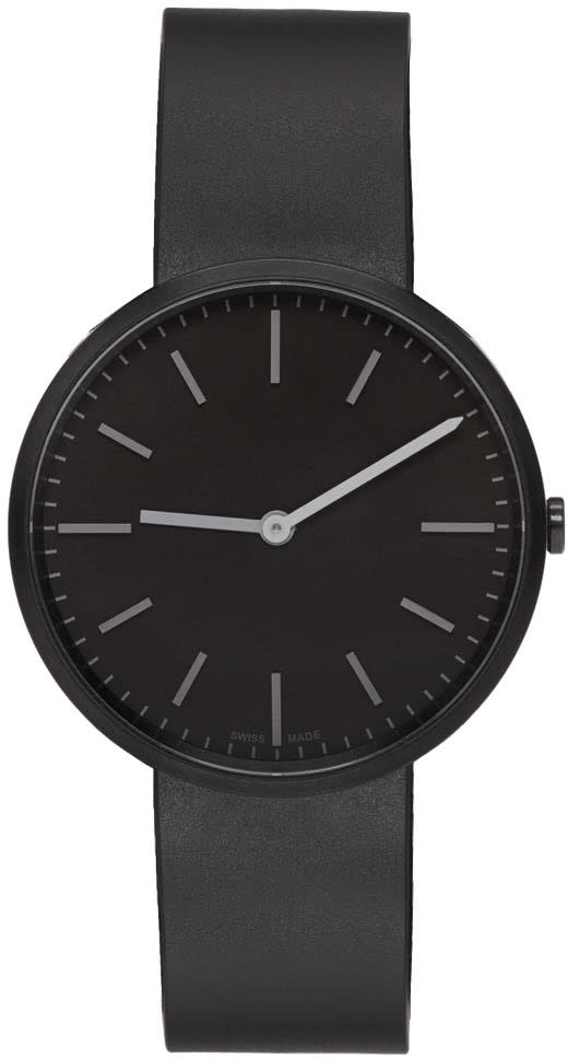Uniform Wares Gunmetal and Black Rubber M37 Two-hand Watch