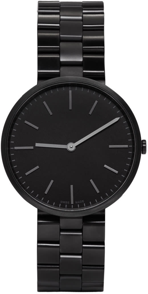 Image of Uniform Wares Gunmetal and Black Linked M37 Two-hand Watch