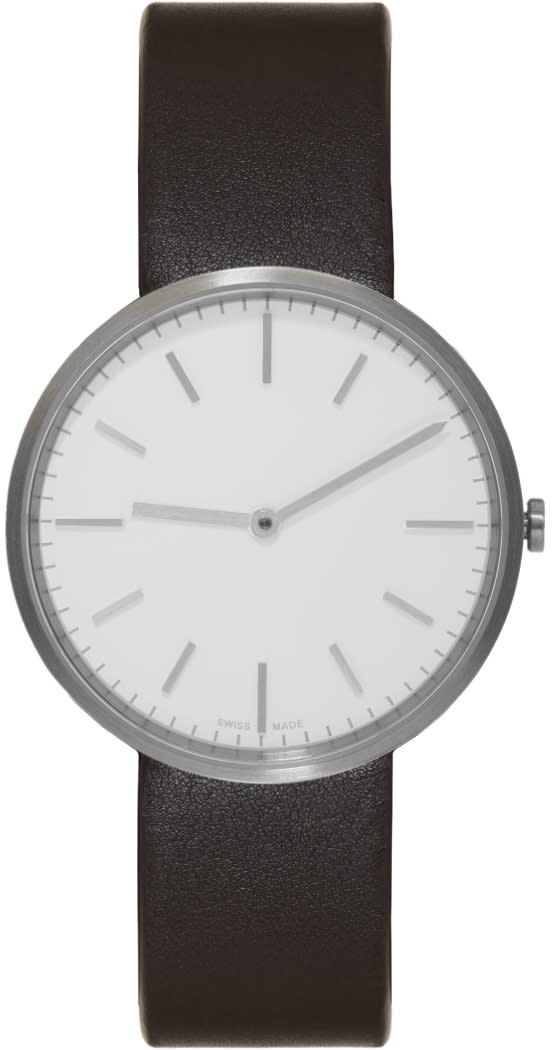 Uniform Wares Silver and Brown Leather M37 Two-hand Watch