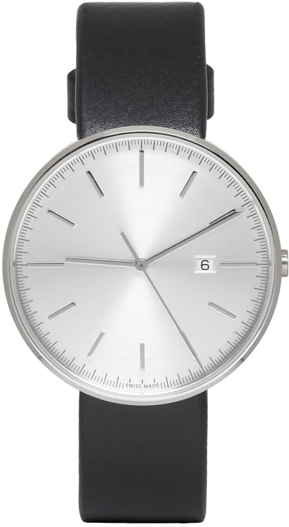 Uniform Wares Silver and Black M40 Date Watch