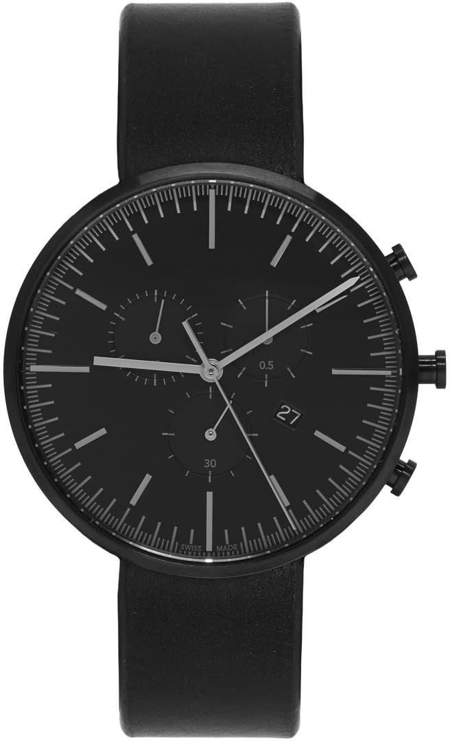 Uniform Wares Gunmetal and Black Leather M42 Chronograph Watch