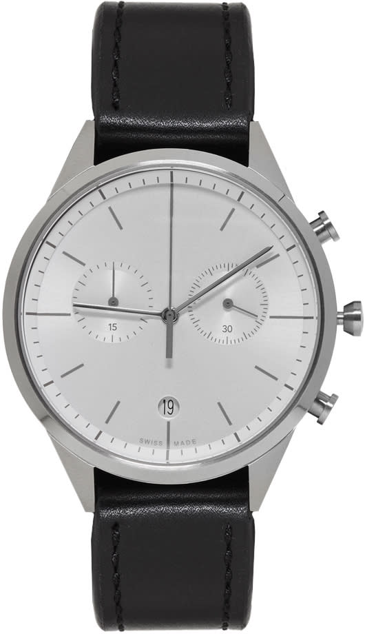 Uniform Wares Silver and Black Leather C39 Chronograph Watch