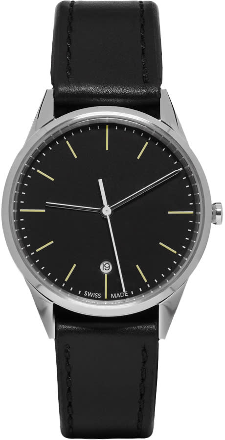 Uniform Wares Silver and Black Leather C36 Date Watch