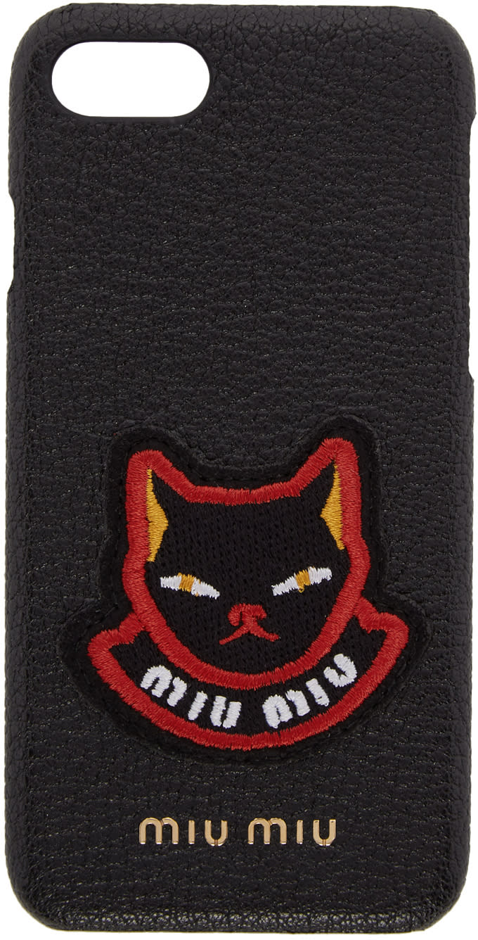 Image of Miu Miu Black Cat Patch Iphone 7 Case