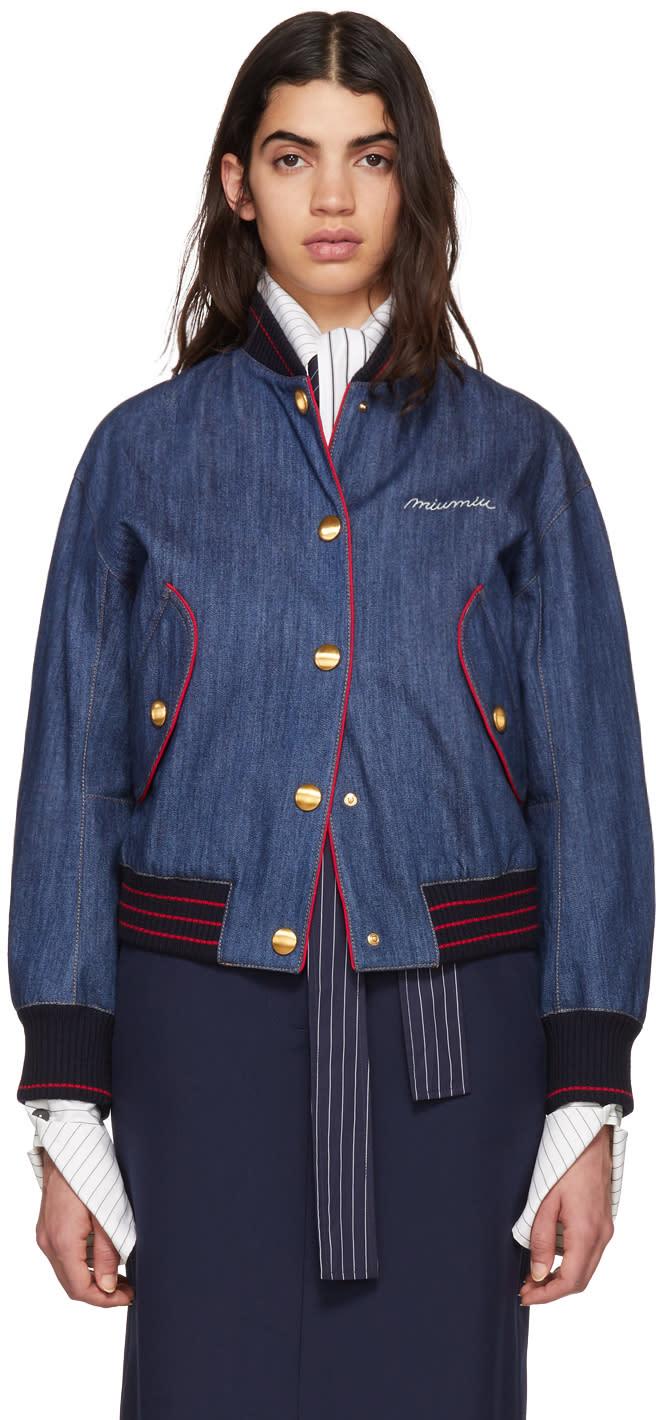 Miu Miu Blue Denim Varsity Writing Logo Bomber Jacket