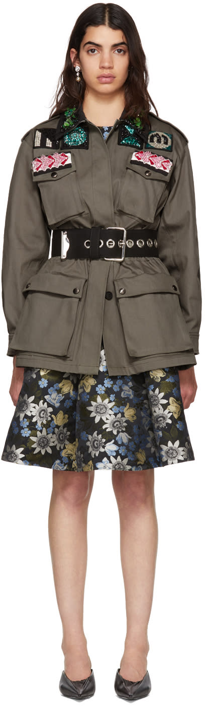 Miu Miu Green Short Four Pocket Patches Dress