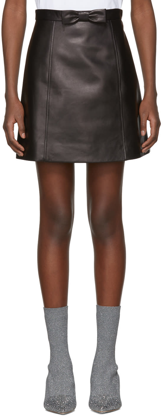 Miu Miu Black Leather A-line Pockets and Bow Miniskirt