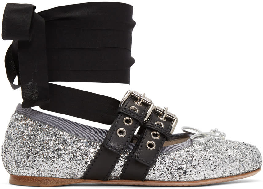 Miu Miu-Silver Glitter Double Bands Ballerina Flats