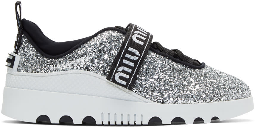 Miu MiuSilver Glitter Logo Sneakers
