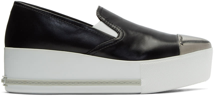 Image of Miu Miu Black Cap Toe Platform Slip-on Sneakers