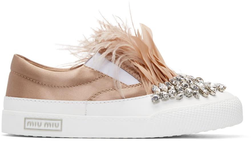 Miu MiuWhite and Pink Feather Crystal Slip-on Sneakers