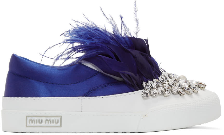 Miu Miu-White and Blue Feather Crystal Slip-on Sneakers