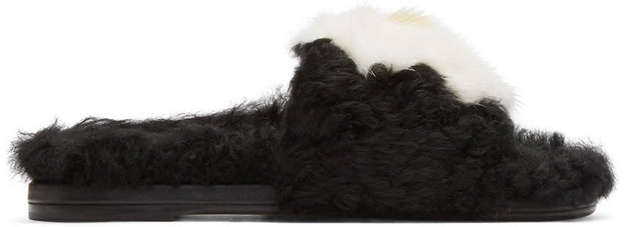 Anya Hindmarch Black Shearling Egg Slides