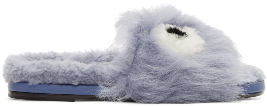Anya Hindmarch Blue Shearling Eyes Slides