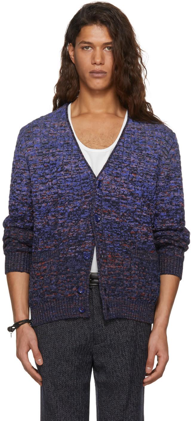 Image of Missoni Blue Dégradé Cable Knit Cardigan
