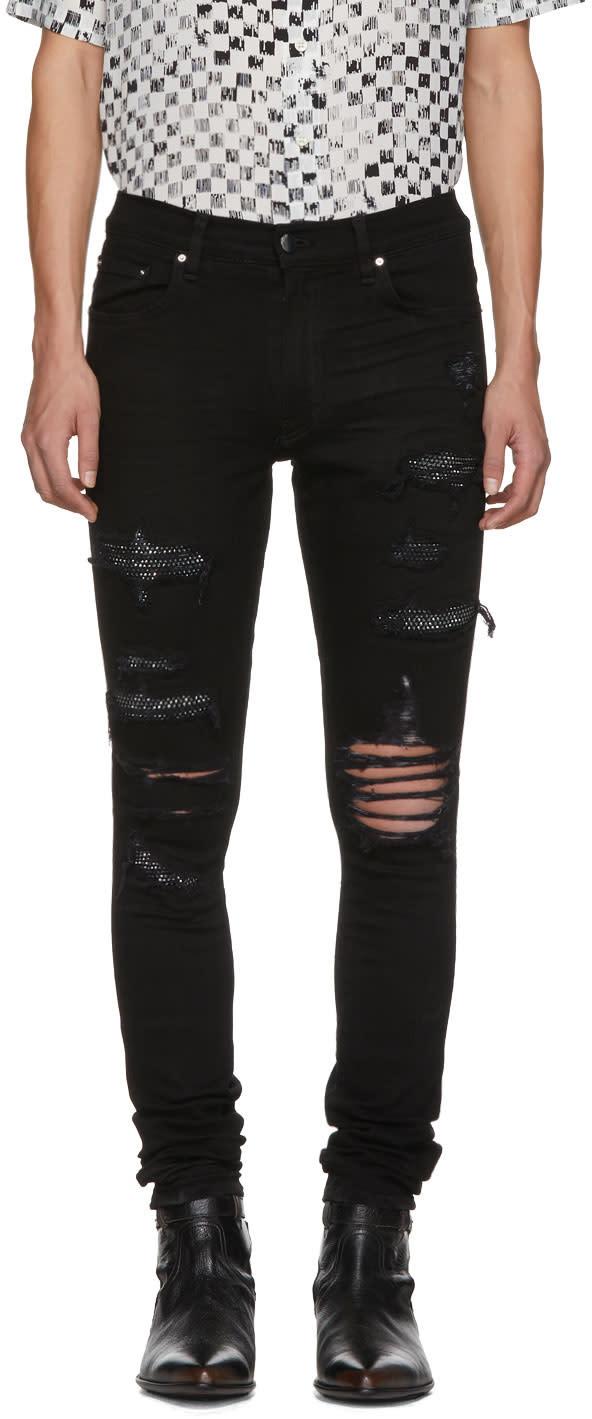 Image of Amiri Black Crystal Destroy Jeans