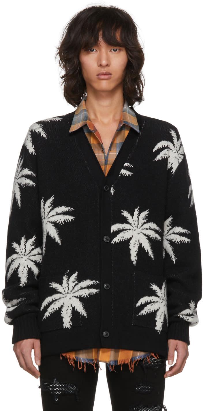 Image of Amiri Black Cashmere Palm Cardigan