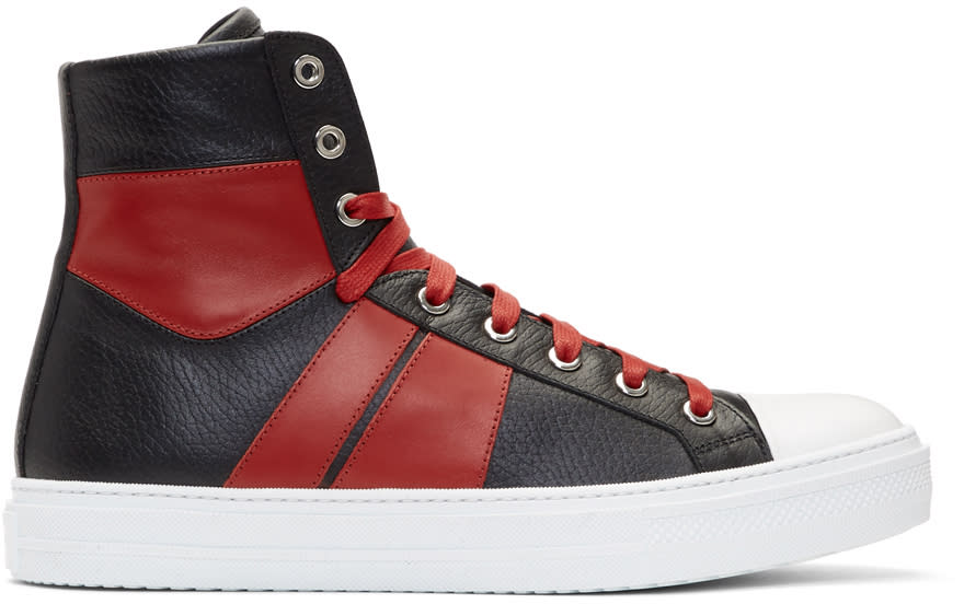 Image of Amiri Black and Red Sunset High-top Sneakers