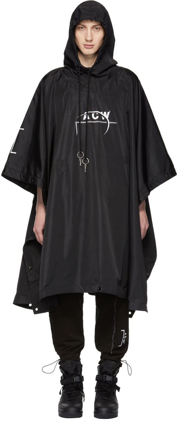 A-cold-wall* Poncho Noir Technical Exclusif à Ssense