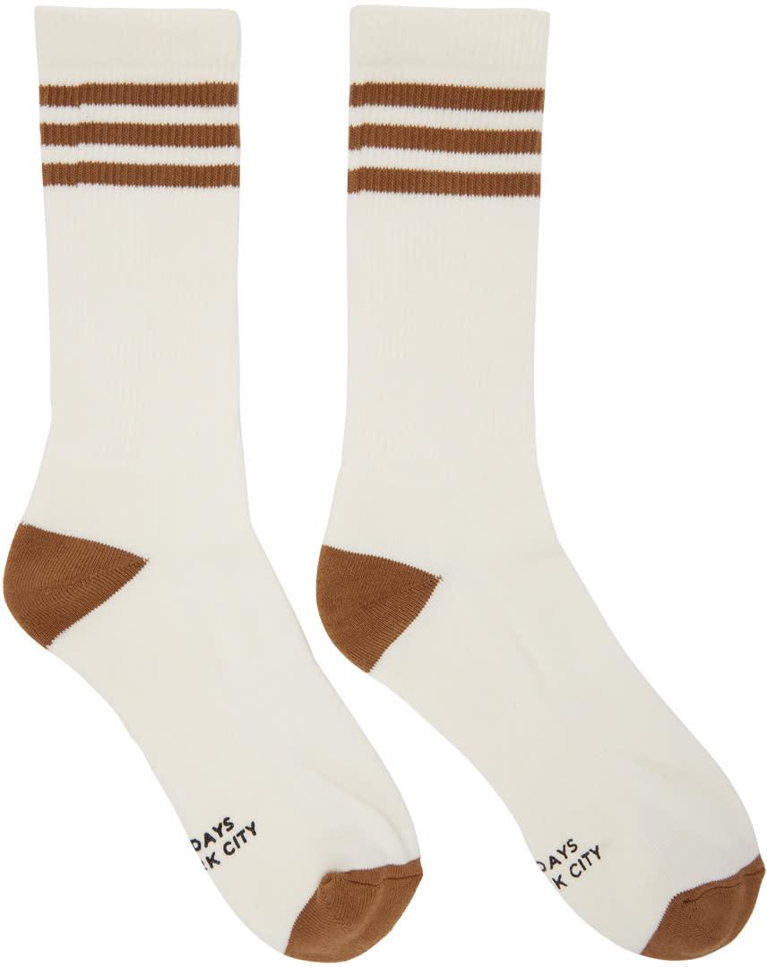 Saturdays Nyc White and Brown Athlete Socks