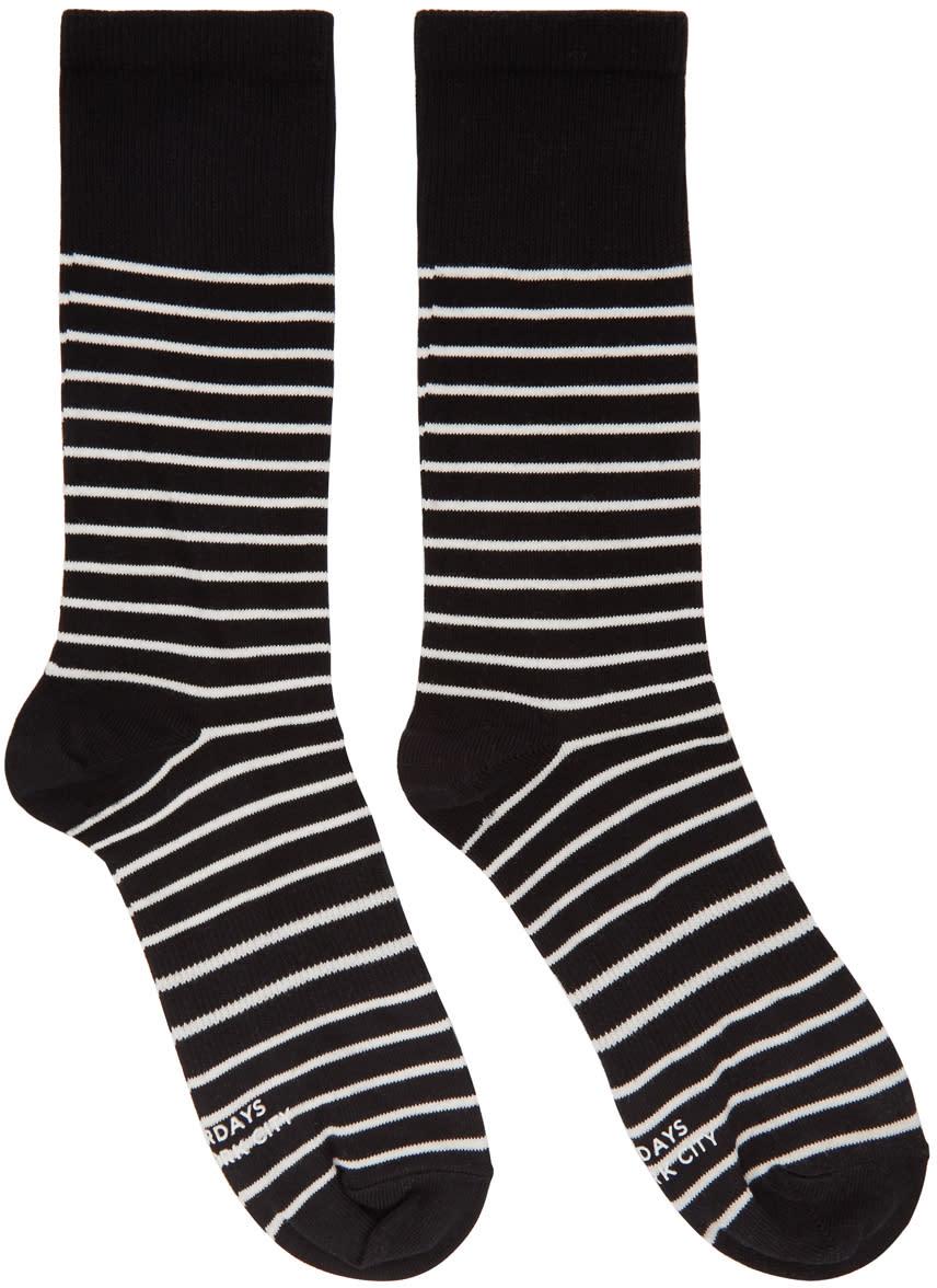 Saturdays Nyc Black and Ivory Lightweight Socks