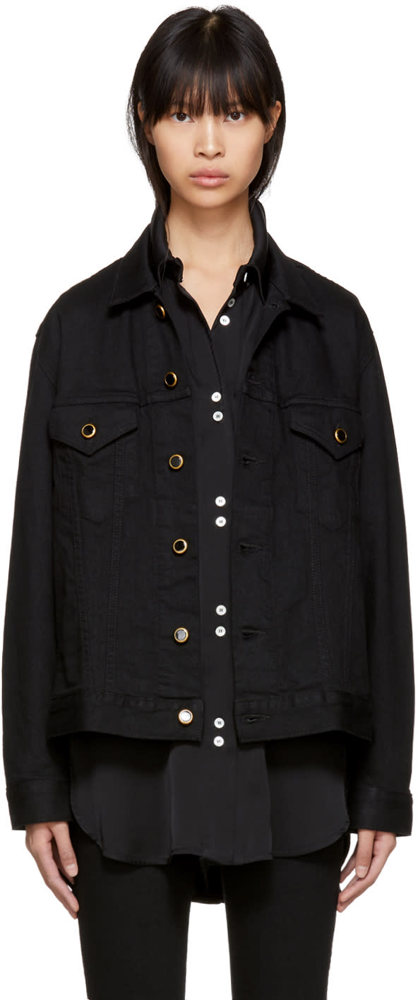 Image of Khaite Black Denim Oversized Cate Jacket