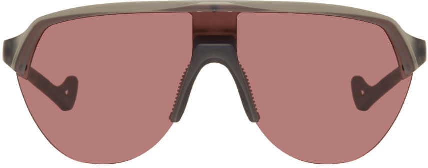 Image of District Vision Black and Pink Nagata Speed Blade Sunglasses