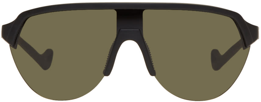 Image of District Vision Black and Green Nagata Speed Blade Sunglasses