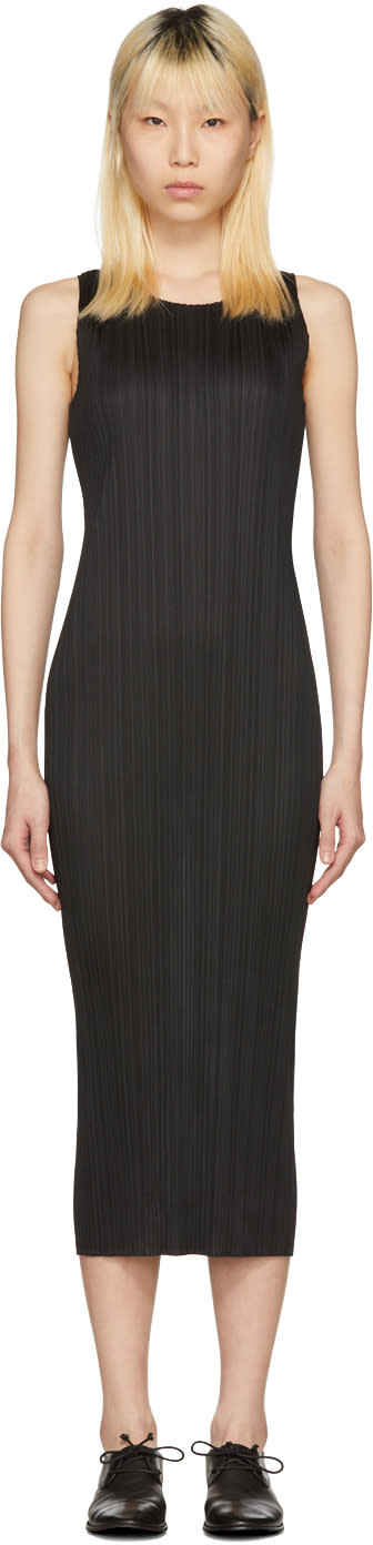Image of Pleats Please Issey Miyake Black Pleated Maxi Dress