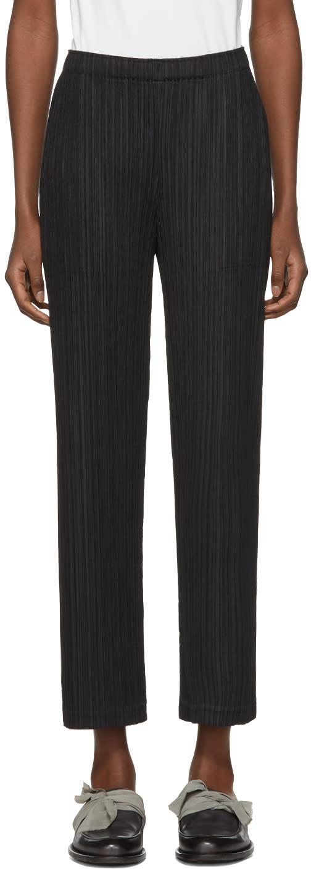 Image of Pleats Please Issey Miyake Black Pleated Wide-leg Trousers