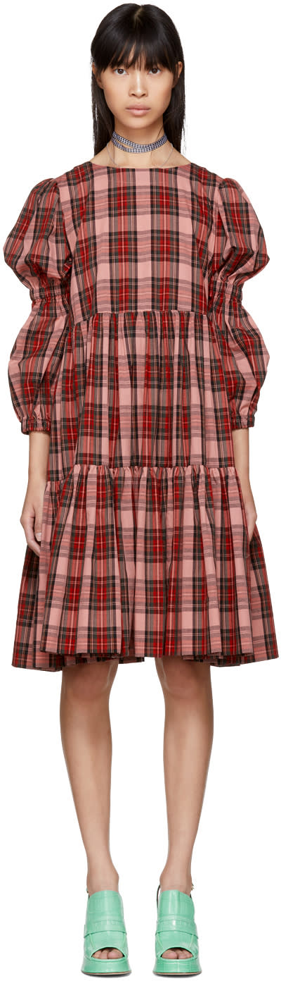 Image of Molly Goddard Pink Tartan Martha Dress